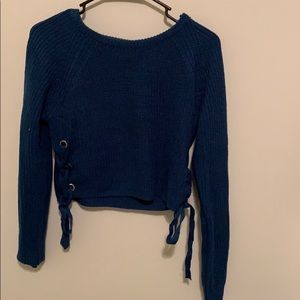 Blue tie up sweater